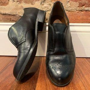 Adrienne vittadini black leather slip on oxfords